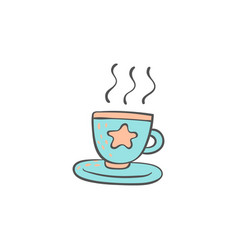 cup hot drink doodle style cartoon element vector image