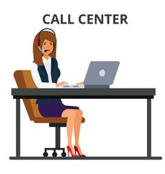Customer service operator businesswoman working vector