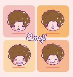 cute boy emojis vector image