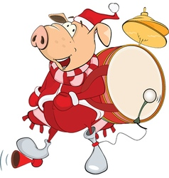 Cute Pig Musician Cartoon vector image