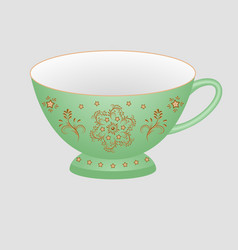 decorative porcelain tea cup ornate with oriental vector image