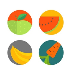 Different food color flat icons vector
