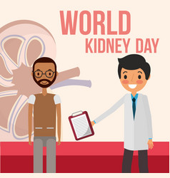 doctor and beard man patient world kidney day vector image