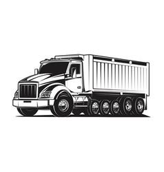 dump truck huge load black and white vector image