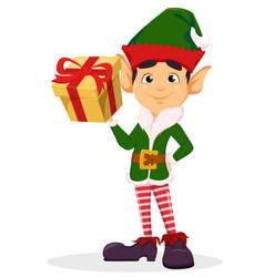 elf holding yellow gift box vector image