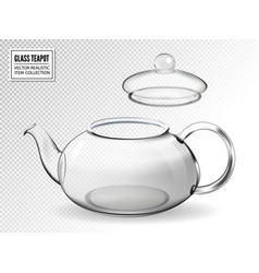 Empty glass teapot on transparent background vector