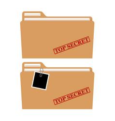 File folder with red rubber stamp top secret vector