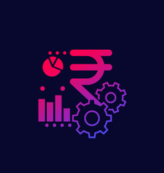 Financial icon with indian rupee sign vector