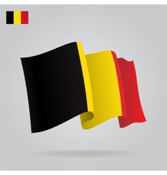 Flat and waving Belgian Flag vector