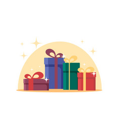 flat gift boxes surprise celebration event set vector image