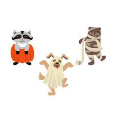 Flat halloween dressed up animals set vector