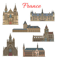 french travel landmarks and medieval buildings vector image