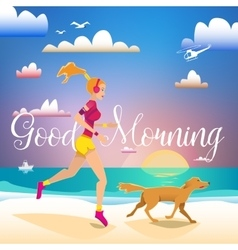 Girl and dog running on the beach in the morning vector
