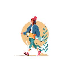 Girl walking outside vector