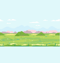 Grass field with bushes game background vector