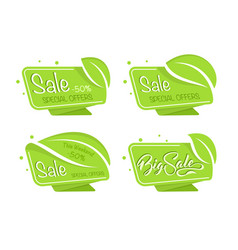 Green eco tag vector