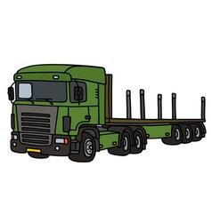 Green flat semitrailer truck vector