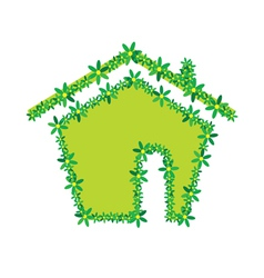 green flower house vector image