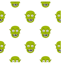 Green zombie head pattern seamless vector