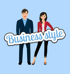 happy couple in business style clothing vector image