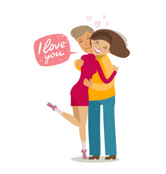 happy loving couple hugging each other romance vector image