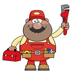 Happy Mechanic Cartoon with a Toolbox vector