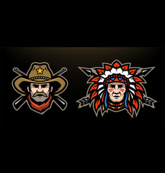 Head cowboy and indian on a dark background vector