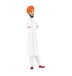 Hindu confident businessman with folded arms vector