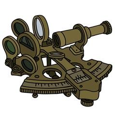 Historic brass sextant vector