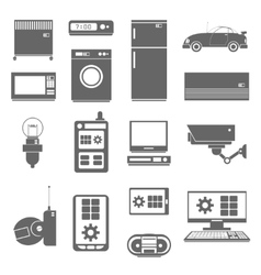 Internet things icons set black vector