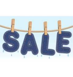 Jeans sale drying on a clothesline vector