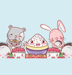 kawaii animals and japanese food vector image