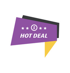 Label hot deal purple yellow black vector
