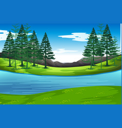 Lake in nature background vector