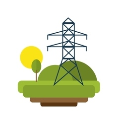 landscape with electricity lines vector image