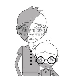 Line father with his son using glasses vector