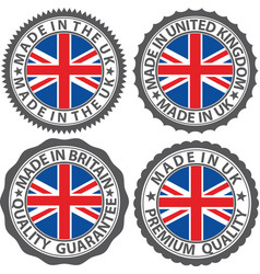 made in uk label set with flag made in uk vector image