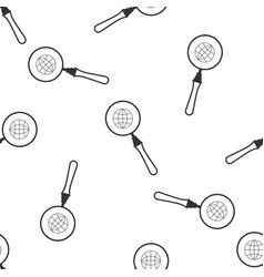 magnifying glass with globe icon seamless pattern vector image