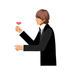 Man hold wine vector