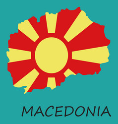 map and flag of macedonia with color background vector image