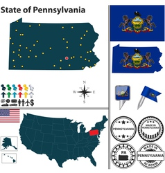 Map of Pennsylvania vector
