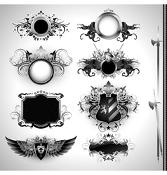 medieval heraldry shields vector image vector image