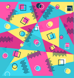 memphis style cover with geometric shapes vector image