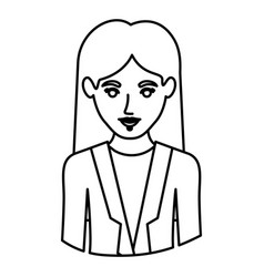 Monochrome contour half body of woman with formal vector