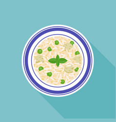 Mushroom and peas risotto rice vector