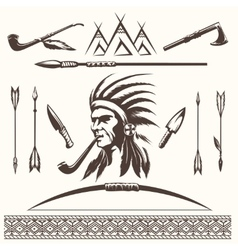 Native american indian ethnic elements vector image