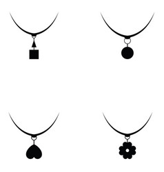 Necklace icon set vector