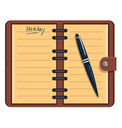 Open organizer with pen and text monday vector