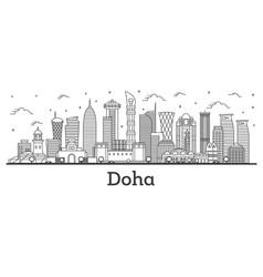 outline doha qatar city skyline with modern vector image