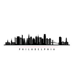 philadelphia city skyline horizontal banner vector image